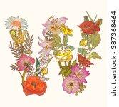 floral alphabet. letter w   Shutterstock .eps vector #387368464