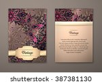 vintage cards with floral... | Shutterstock .eps vector #387381130