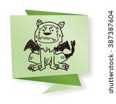 lion monster doodle | Shutterstock .eps vector #387387604