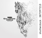 galloping horse particles... | Shutterstock .eps vector #387397213