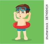 boy swimming preparation   Shutterstock .eps vector #387400414