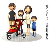 family and baby buggy | Shutterstock . vector #387402736