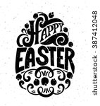 hand sketched happy easter text ... | Shutterstock .eps vector #387412048