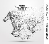 galloping horse particles... | Shutterstock .eps vector #387417040
