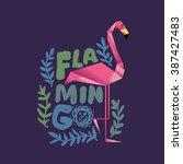 flamingo decorative vector... | Shutterstock .eps vector #387427483