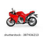 red motorcycle isolated on a... | Shutterstock . vector #387436213