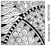 hand drawn zentangle pattern.... | Shutterstock .eps vector #387437458
