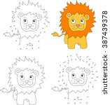 cartoon lion. coloring book and ... | Shutterstock .eps vector #387439378