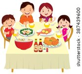 family having dinner. chinese... | Shutterstock .eps vector #387439600
