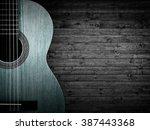 part of a blue acoustic guitar... | Shutterstock . vector #387443368
