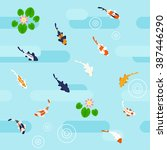 Seamless Colorful Koi Pattern...