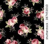 rose flower pattern | Shutterstock .eps vector #387453010
