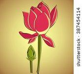 illustration of lotus flowers... | Shutterstock .eps vector #387454114