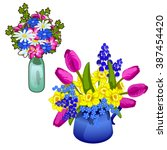 two bunches of spring and... | Shutterstock .eps vector #387454420