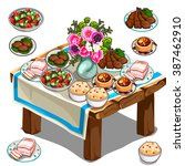 wooden table with lots of... | Shutterstock .eps vector #387462910