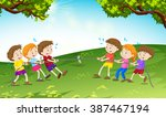 boys and girls playing tug of... | Shutterstock .eps vector #387467194