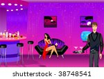 the beautiful girl sits on a... | Shutterstock .eps vector #38748541