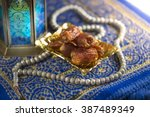 close up of dates with islamic...   Shutterstock . vector #387489349