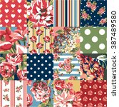 abstract patchwork with flowers ... | Shutterstock .eps vector #387489580