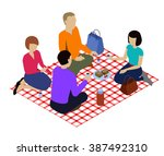 isometric picnic isolated in... | Shutterstock .eps vector #387492310