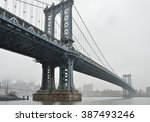 Manhattan Bridge In A Foggy Day.