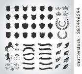 luxury heraldic crests logo... | Shutterstock .eps vector #387496294