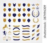 luxury heraldic crests logo... | Shutterstock .eps vector #387496309