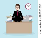 hipster businessman meditates... | Shutterstock .eps vector #387501550