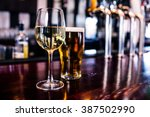 close up of a glass of wine and ... | Shutterstock . vector #387502990
