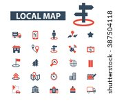 local map icons  | Shutterstock .eps vector #387504118