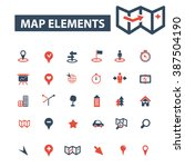 map elements icons  | Shutterstock .eps vector #387504190