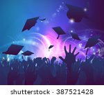 graduation convocation crowd... | Shutterstock .eps vector #387521428