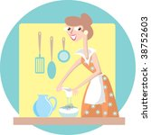 lady kitchen 5 | Shutterstock .eps vector #38752603