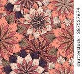 hand drawn flower mandala for... | Shutterstock .eps vector #387527674