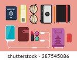 flat lay travel vector... | Shutterstock .eps vector #387545086