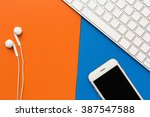 smartphone  earphones and... | Shutterstock . vector #387547588