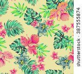 vector tropical pattern.... | Shutterstock .eps vector #387555874