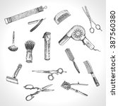 hand drawn hairdressers... | Shutterstock .eps vector #387560380