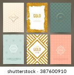 set of brochures in vintage... | Shutterstock .eps vector #387600910