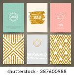 set of brochures in vintage... | Shutterstock .eps vector #387600988