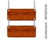 blank wooden signboard set... | Shutterstock .eps vector #387602143