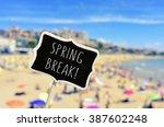 closeup of a black signboard...   Shutterstock . vector #387602248
