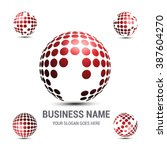 creative globe logo red...