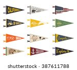 set of adventure pennants.... | Shutterstock .eps vector #387611788