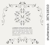 wedding vintage invitation with ... | Shutterstock .eps vector #387618310