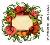 hand drawn poppy flowers card... | Shutterstock .eps vector #387625228