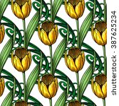 seamless pattern of tulip... | Shutterstock .eps vector #387625234