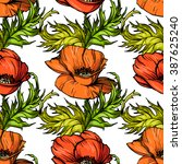 seamless pattern of poppy... | Shutterstock .eps vector #387625240