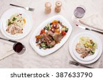 the baked duck with vegetables... | Shutterstock . vector #387633790