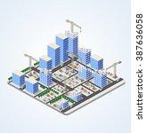 urban industrial isometric 3d... | Shutterstock .eps vector #387636058